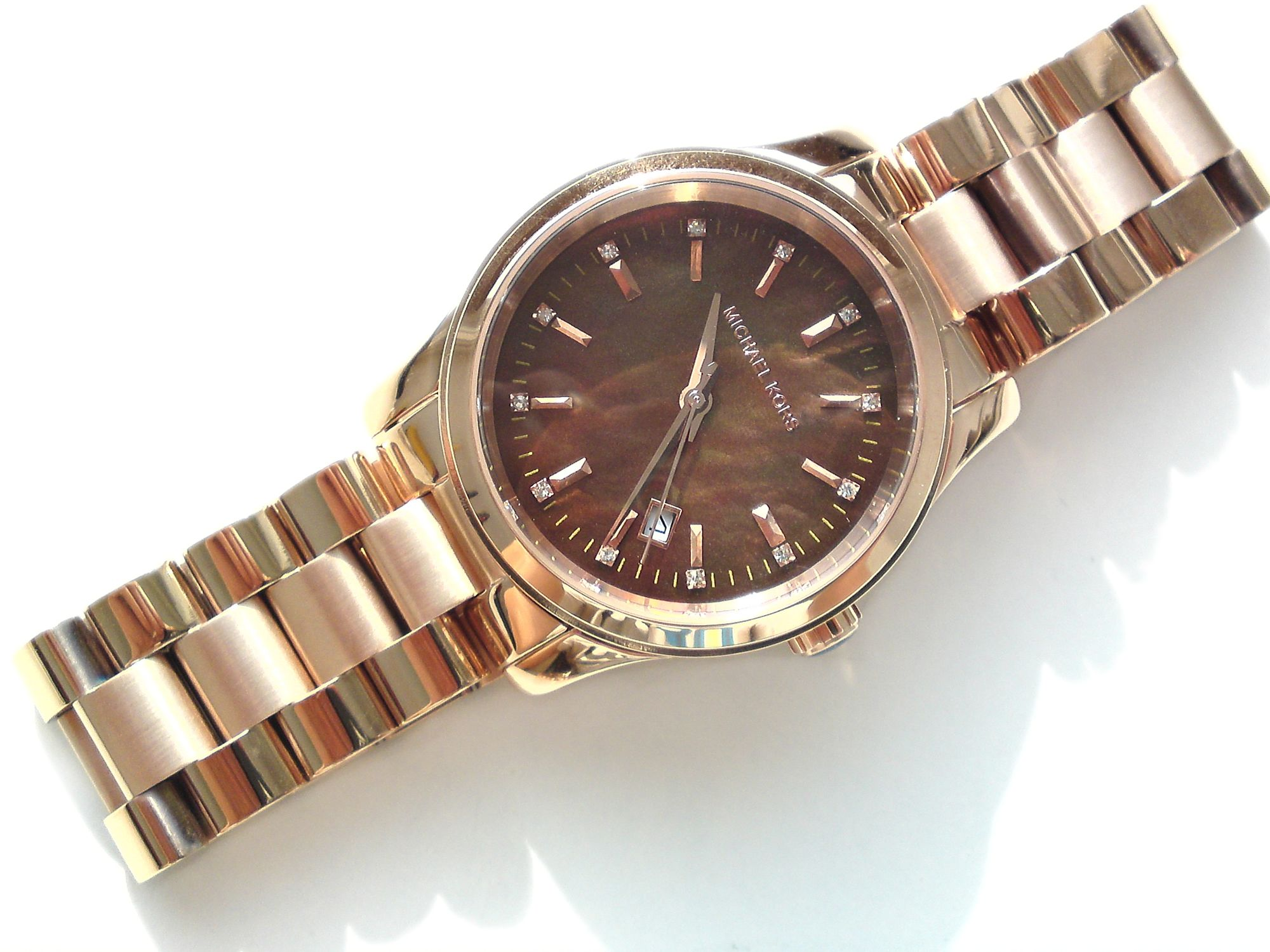 michael kors damen armband uhr chronograph rose vergoldet braun mk5445 neu ebay. Black Bedroom Furniture Sets. Home Design Ideas